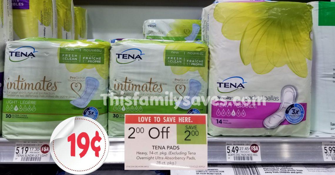 Tena pads $2 off sale