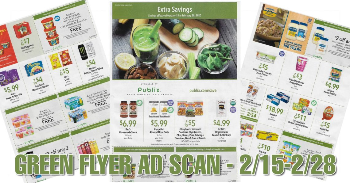 Publix Green Flyer Ad Scan Valid 2 15 2 28